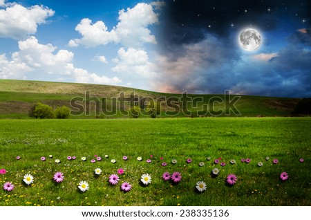 Day and night background. Elements of this image furnished by NASA. - stock photo
