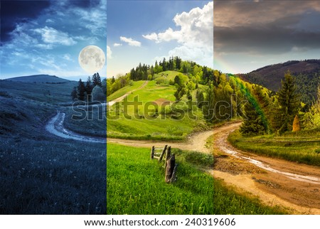 day and night composite autumn landscape. fence near the cross road on hillside meadow in mountains. few fir trees of forest  on both sides of the road - stock photo