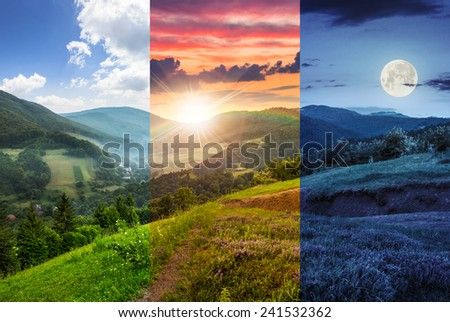 day and night composite mountain landscape. flowers on hillside meadow near village in foggy mountain  forest - stock photo