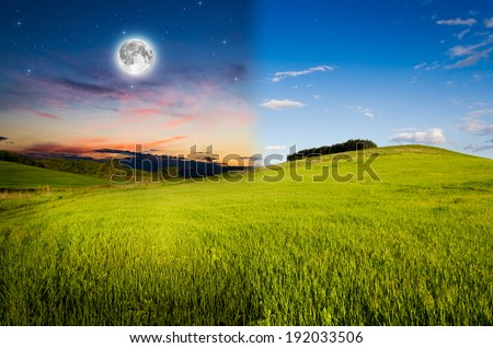 Day and Night. Elements of this image furnished by NASA. - stock photo