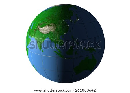 Day and night on Earth, side of Eurasia - stock photo