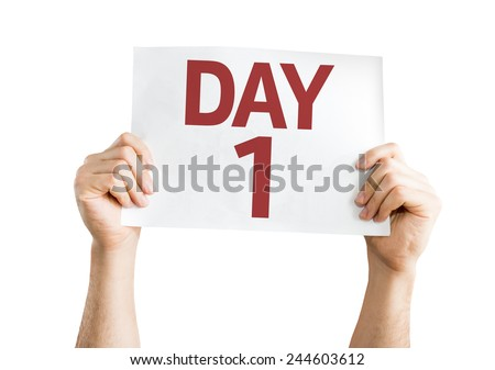 Day 1 card isolated on white background - stock photo