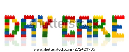 Day Care word build from toy building blocks. - stock photo