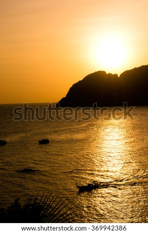 Day Dawning Sunlit Mountains  - stock photo