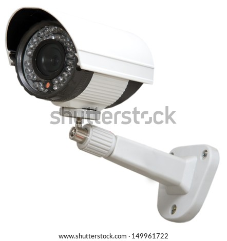 Day & Night Color IP surveillance camera isolated on white background with clipping path.