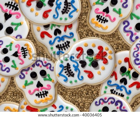 Day of the Dead cookie tileable wallpaper, jumbled - stock photo