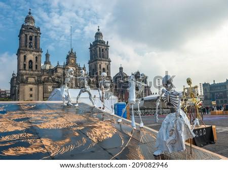 Day of the dead in Mexico city, Dia de los muertos  - stock photo