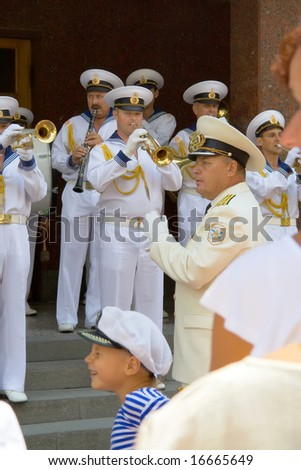 Day of the Navy. August 27, 2008. The city of Sevastopol. Ukraine. The orchestra played music door on the street. Children run, just laughed and rejoiced.
