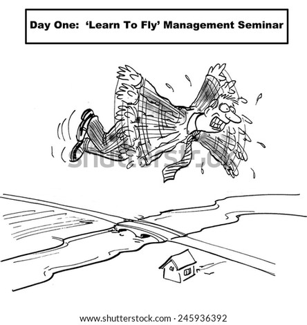 Day One:  'Learn to fly' management seminar - stock photo