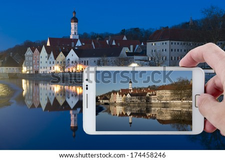 Day picture during nighttime in  the medieval town of Landsberg am Lech in Bavaria, situated on the Romantische Strasse. - stock photo