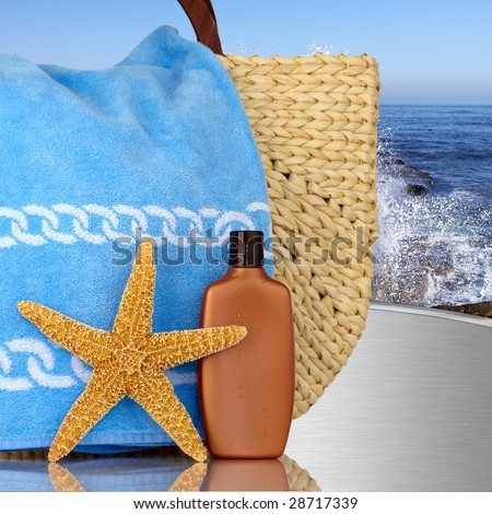 Day Spa Still-life With Straw Beach Bag, Blue Towel Sunscreen And Starfish On Metal Table - stock photo