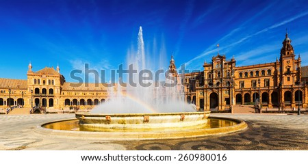 Day sunny view of Plaza de Espana with fountain. Seville, Spain