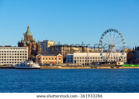 Day time Helsinki harbor landscape - stock photo