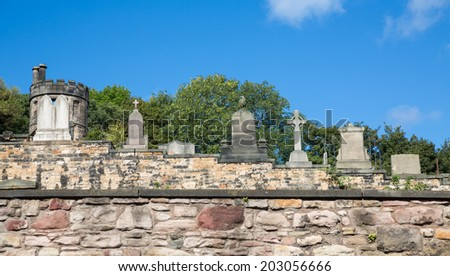 Day view of Old cemetery in  Edinburgh, Scotland. - stock photo