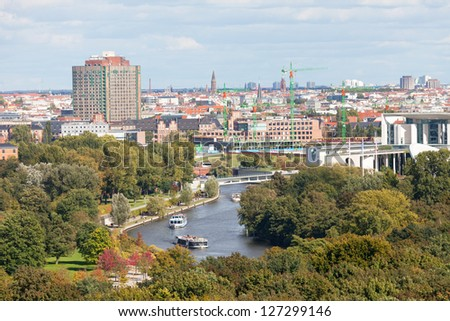 Day view of the central district of Berlin from an observation deck - stock photo