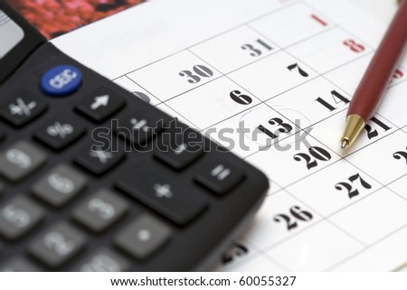 Day X. Date in calendar marked by pen (payment date, debt return date, etc.) - stock photo