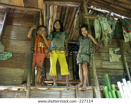 Dayak children, traditional and indigenous people at Borneo.