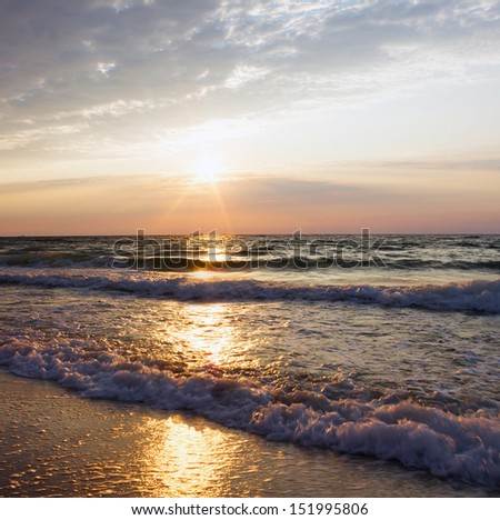 Daybreak over sea. Natural landscape. - stock photo