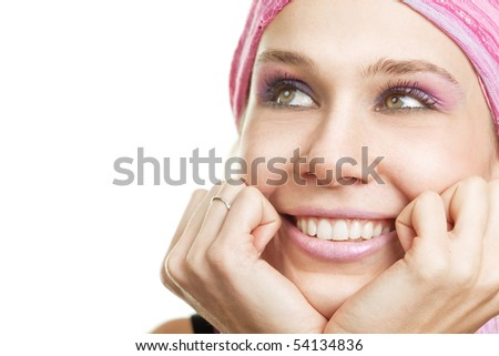 Daydream concept - Happy wishful woman over white - stock photo