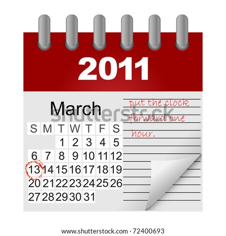 Daylight saving time begins march 13. icon calendar. Similar image in Vector format  in my portfolio.