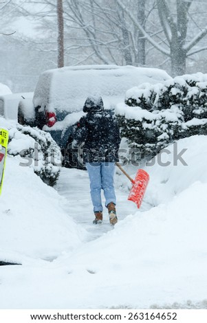 Daylight scene during a snow storm in Stamford Connecticut on March 15, 2015  - stock photo