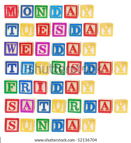 Days of the Week on White Background