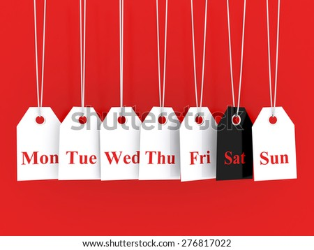 Days of the week symbols and saturday promotions - stock photo