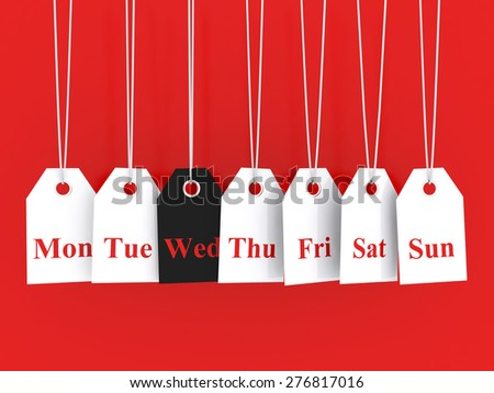 Days of the week symbols and wednesday promotions - stock photo
