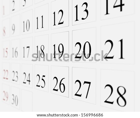 Days on calendar - stock photo