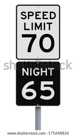 Daytime and nighttime speed limit signs  - stock photo