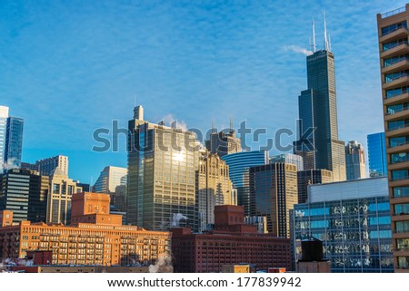 Daytime cityscape view of downtown Chicago - stock photo