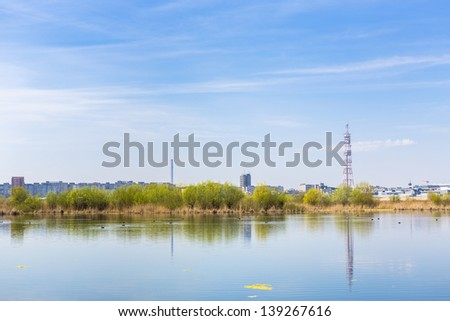 Daytime view of aquatic ecosystem on old Vacaresti Lake near south-eastern Bucharest suburbs.