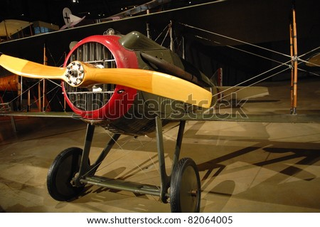 DAYTON OH - JULY 17: World War I American Fighter plane at the National Museum of the Air Force, Wright-Patterson Air Force Base on 17 July 2011 in Dayton, Ohio. - stock photo