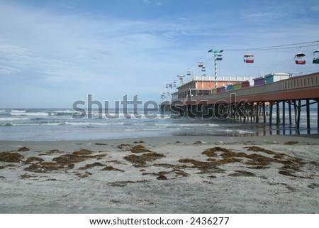 Daytona Beach Boardwalk wide angle view - stock photo