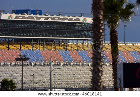DAYTONA BEACH, FL - FEB 4:The backstretch grandstands wait for fans before the first practice session for the Daytona 500 Sprint Cup race Feb 4, 2010 in Daytona Beach, FL - stock photo