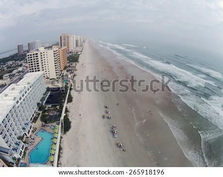 Daytona Beach Florida on a hazy day aerial view - stock photo