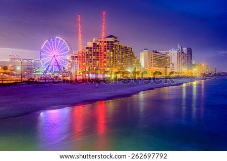 Daytona Beach, Florida, USA beachfront resorts skyline. - stock photo
