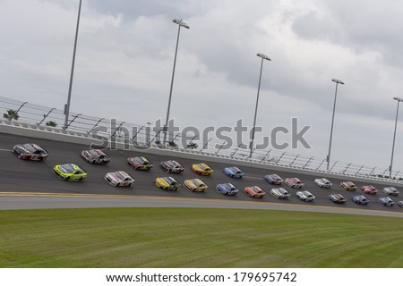 Daytona Beach, NC - Feb 23, 2014:  The NASCAR Sprint Cup Series teams take to the track for the 56th Annual Daytona International Speedway at Daytona International Speedway in Daytona Beach, NC. - stock photo