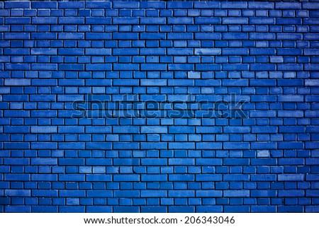 dazzling blue brick wall background - stock photo