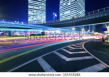Dazzling ring rainbow overpass highway night scene in Shanghai - stock photo