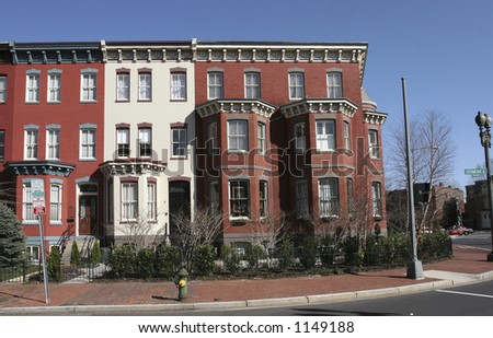DC rowhouses- straight - stock photo