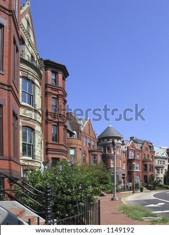 DC Victorian rowhouses from the side - stock photo