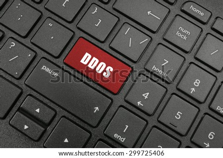 ddos atack button on black laptop keyboard - stock photo