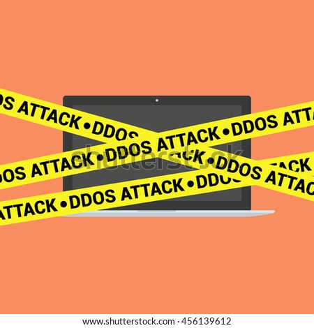 DDoS concept. Modern laptop and DDoS tape isolated on background