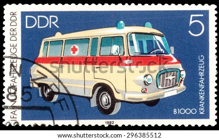 DDR - CIRCA 1982: A stamp printed in DDR shows ambulance B 1000 , from series, circa 1982 - stock photo