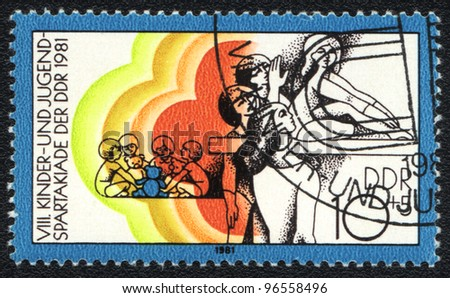 DDR - CIRCA 1981: A stamp printed in DDR   shows  Children and Youth sports festival, circa 1981