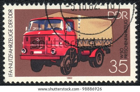 DDR - CIRCA 1982: A stamp printed in DDR   shows   lorry W 50, from series, circa 1982