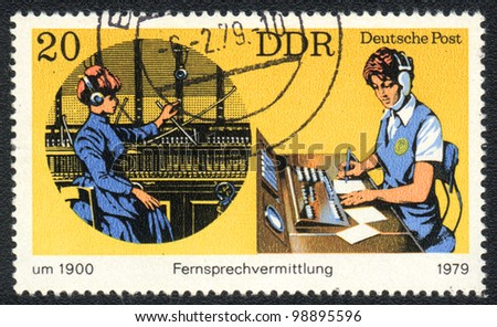 DDR - CIRCA 1979: A stamp printed in DDR   shows  telephony, from series Postal History of Germany, circa 1979