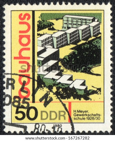 DDR- CIRCA 1980: A stamp printed in DDR  shows Union school, Bauhaus school, circa 1980  - stock photo
