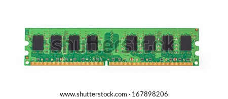 DDR2 memory module isolated on white background - stock photo